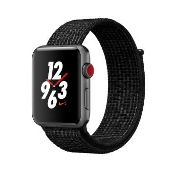 【LTE版 42mm】Apple Watch S3 Nike+/太空灰鋁/黑底白線錶環
