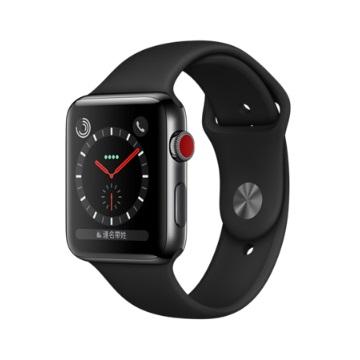 【LTE版 42mm】Apple Watch S3/太空黑不鏽鋼/黑運動錶帶