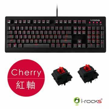 i-Rocks N-Key rollover紅光機械式鍵盤-黑(Cherry紅軸)(IRK65MS-BK(RD))