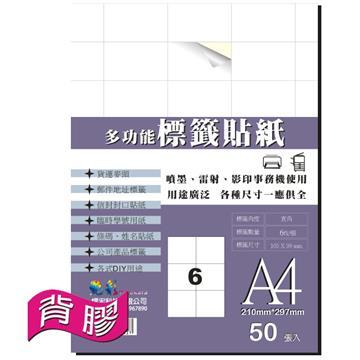 艳彩3合1多功能自黏标签贴纸6格/50张/包(LAB-06)