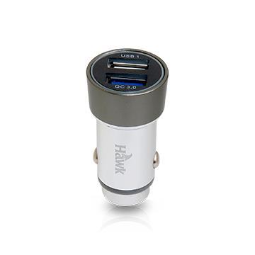 【QC 3.0】Hawk 铝合金双USB车充(01-HQC530BK)