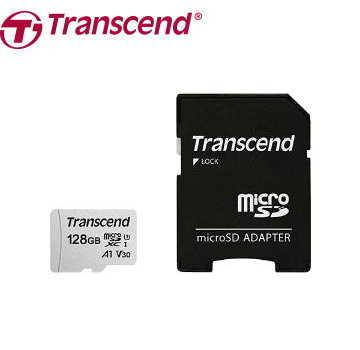 【 U3 A1 /  128G】創見 Transcend MicroSDXC V30記憶卡-含轉卡(TS128GUSD300S-A)
