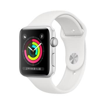 【GPS版 42mm】Apple Watch S3/銀鋁/白運動錶帶