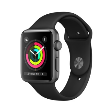 【GPS版 42mm】Apple Watch S3/太空灰鋁/黑運動錶帶
