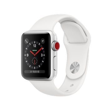 【LTE版 38mm】Apple Watch S3/銀鋁/白運動錶帶