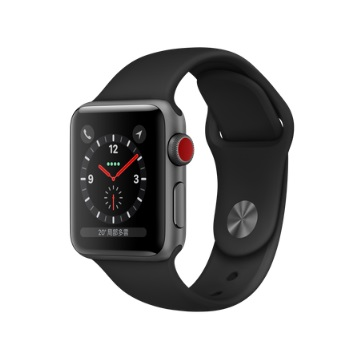 【LTE版 38mm】Apple Watch S3/太空灰鋁/黑運動錶帶