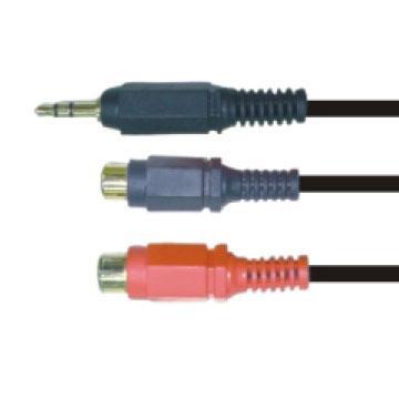 大通3.5mm立體公頭轉RCA母座*2轉接線(PAVG-304)