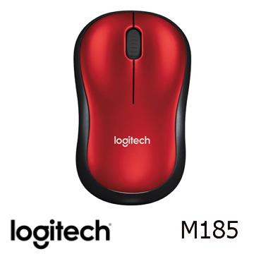 【燦坤限定】羅技無線滑鼠M185-黑紅色(910-002501)