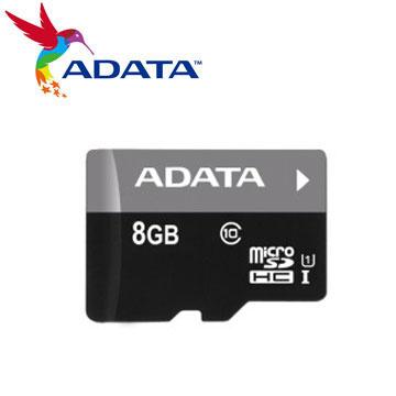【U1】威剛 Micro SD C10 8G記憶卡(ASDH8GUICL10-R)
