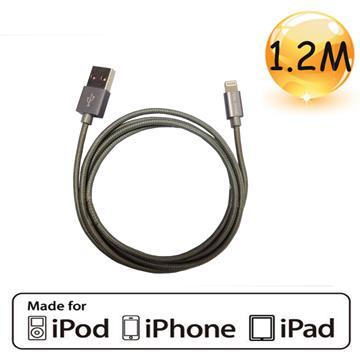 Tera Grand Apple認證8Pin充電編織線1.2m銀(APL-WI056-SL)