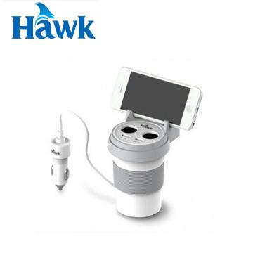 Hawk C510杯型2+2車用充電器-白(01-HCP510WH)