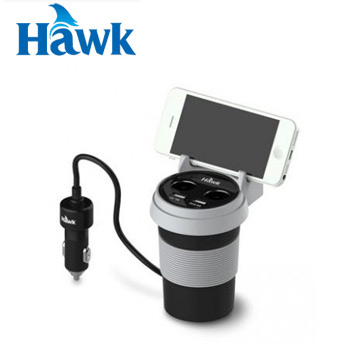 Hawk C510杯型2+2車用充電器-黑(01-HCP510BK)