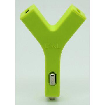 Q PNP Bullet 2.4A雙USB車充-綠(QCC-03-GR)