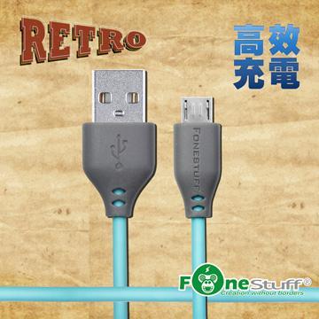 FONESTUFF復古玩色Micro USB傳輸線-晨曦藍(FSM120A-SB)