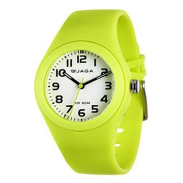 JAGA 捷卡 AQ912-K 防水石英錶-黃(防水50米 指針錶)