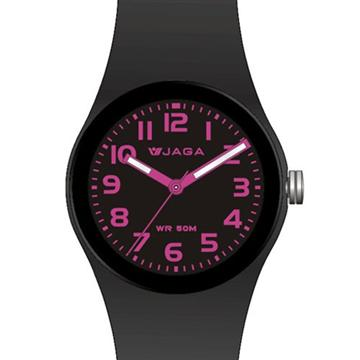 JAGA 捷卡 AQ912-AG 防水石英錶-黑粉(防水50米 指針錶)