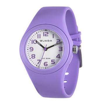 JAGA 捷卡 AQ912-J 防水石英錶-紫(防水50米 指針錶)
