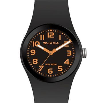 JAGA 捷卡 AQ912-AI 防水石英錶-黑橘(防水50米 指針錶)