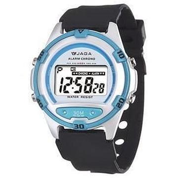 JAGA 捷卡 M267-DE 防水運動電子錶-白藍(M267-DE 白藍)
