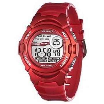 JAGA 捷卡 M876B-GG 防水運動電子錶-紅(M876B-GG 紅)