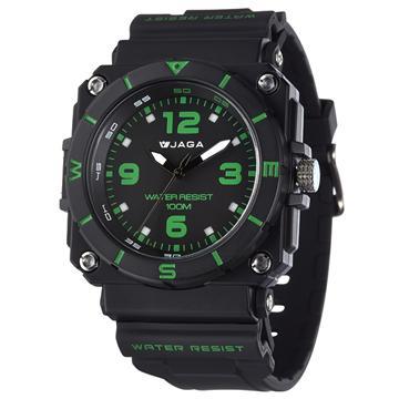 JAGA AQ934-AF 捷卡 石英冷光運動錶-黑綠(AQ934-AF)