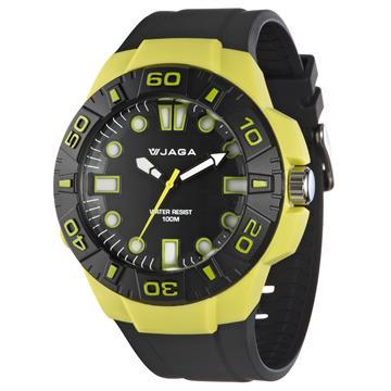 JAGA AQ1080-F 捷卡 防水指針錶-黑黃(AQ1080-F)