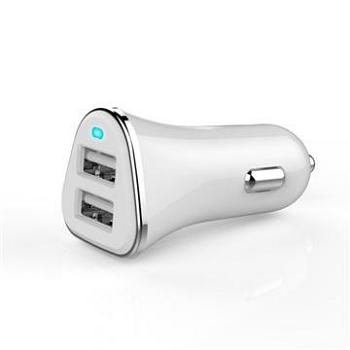 Q PNP 2.4A雙USB車充-白