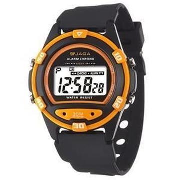 JAGA 捷卡 M267-AI 防水運動電子錶-黑橘(M267-AI)