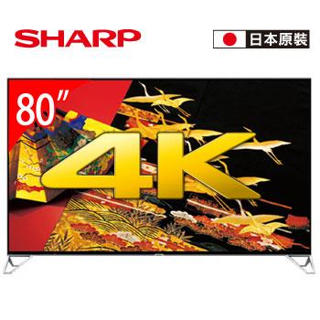【福利品】 SHARP 80型 4K四原色安卓智慧電視(LC-80XU35T)