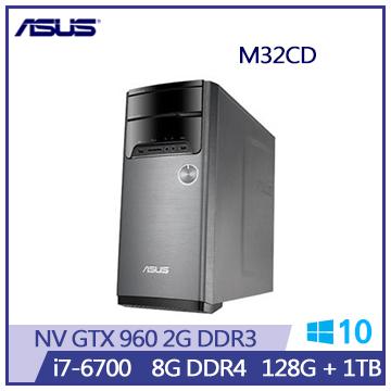 【福利品】ASUS M32CD i7-6700 GTX960 桌上型電腦(M32CD-0171C670GXT)