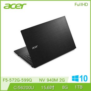 【福利品】ACER F5 15.6吋筆電(i5-6200U/940M/8G/光碟機)(F5-572G-599Q黑)
