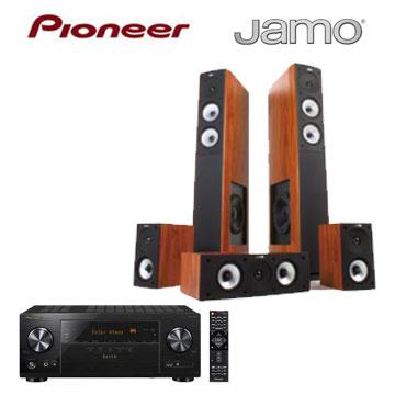 Pioneer 7.2聲道AV環繞擴大機+JAMO 5聲道喇叭組(木紋)(VSX-LX101-B)