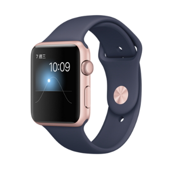 【42mm】Apple Watch Series 2/玫瑰金鋁金屬/午夜藍色運動(MNPL2TA/A)