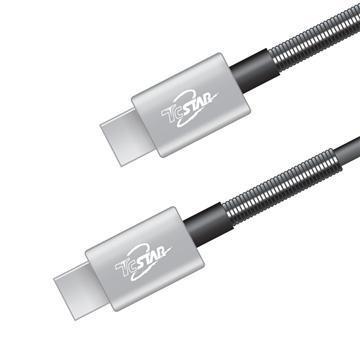 T.C.STAR Type-C 3.1鋁合金彈簧傳輸線1m-灰