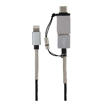 T.C.STAR鋁合金認證8pin+USB轉TYPE-C-鐵灰