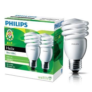 飛利浦 HELIX T2 20W省電燈泡-黃光(2入)(929689779704)