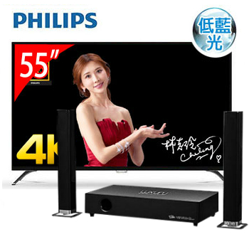 PHILIPS 55型4K LED低藍光智慧顯示器+T.C.STAR藍牙微型劇院