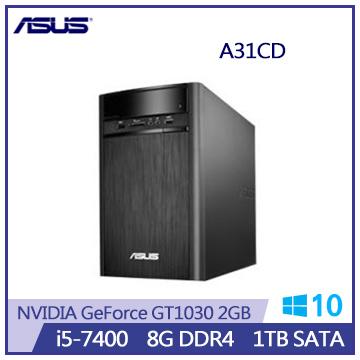 【福利品】ASUS VivoPC A31CD 7代i5 GT1030-2GB桌上型主機