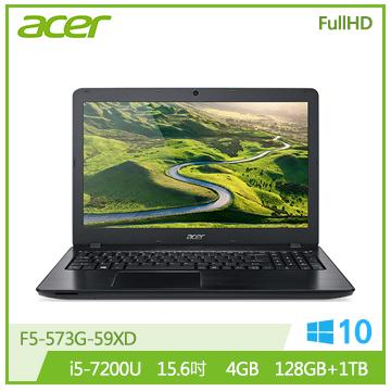 【福利品】ACER F5 15.6吋混碟筆電(i5-7200U/940MX/4GB DDR4)(F5-573G-59XD黑)