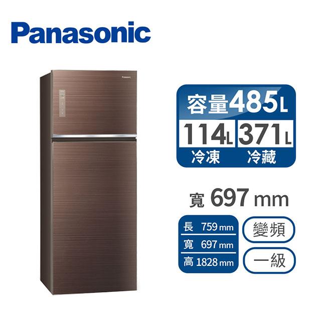 Panasonic485公升玻璃雙門變頻冰箱