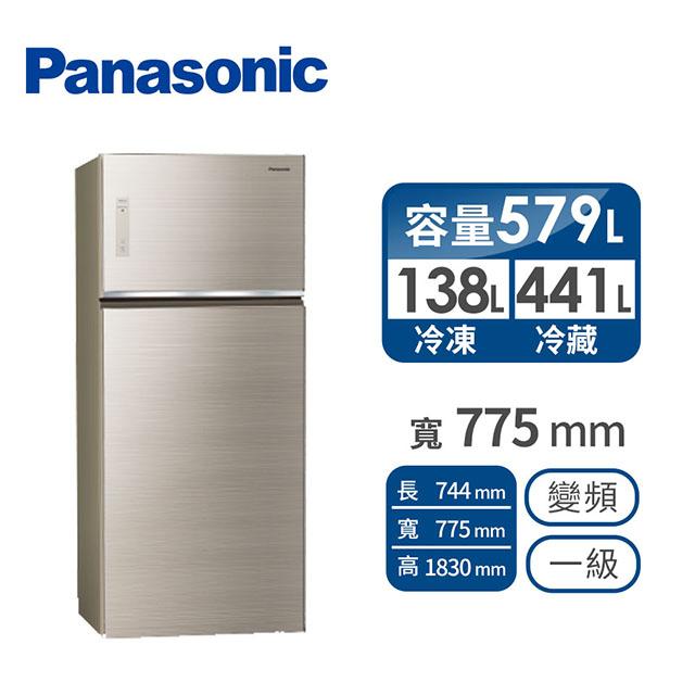 Panasonic579公升玻璃雙門變頻冰箱