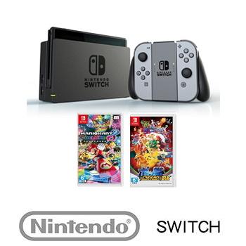 【公司貨】 Nintendo Switch 主機 灰色 + 瑪利歐賽車8 豪華版 Mario Kart 8 Deluxe + 寶可拳DX Pokkén Tournament