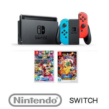【公司貨】 Nintendo Switch 主機 電光藍/紅 + 瑪利歐賽車8 豪華版 Mario Kart 8 Deluxe + 寶可拳DX Pokkén Tournament