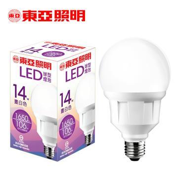 東亞14W LED球型燈泡-晝白色(LLA019-14AAN)