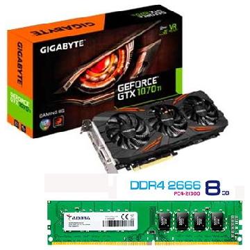 【顯示卡+記憶體】技嘉GTX 1070Ti 8G 顯示卡+威剛Long-Dimm DDR4-2666/8GB