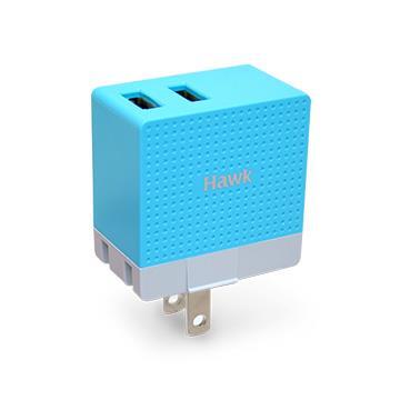 Hawk 2.4A雙USB電源供應器-藍