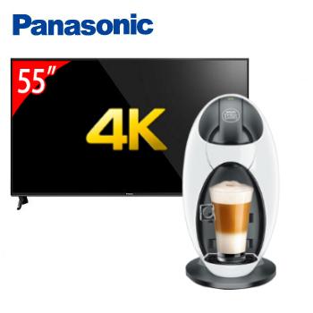 Panasonic 55型六原色4K智慧聯網顯示器+雀巢膠囊咖啡機-Jovia(TH-55FX600W(視175744))