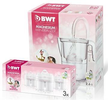 BWT德國倍世 鎂離子健康壺超值組(雪花白)(VIDA 2.6L濾水壺+濾芯*3入)