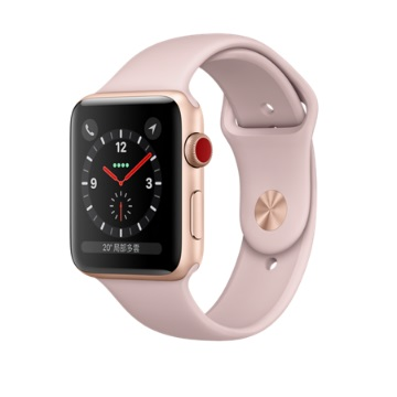 【LTE版 42mm】Apple Watch S3/金鋁/沙粉運動錶帶