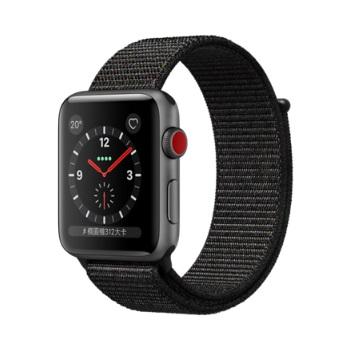 【LTE版 42mm】Apple Watch S3/太空灰鋁/黑運動錶環